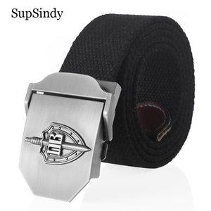 SupSindy Canvas Belt 3D Russian Border Guard Troop metal buckle jeans belts for Men CCCP Army tactical belts male strap