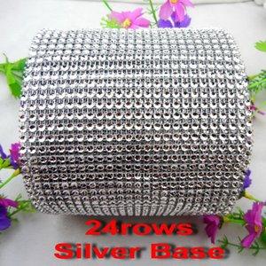 24 Filas 5 yardas por paquete Coser en Rhinestone de alta calidad Ribete de malla Vacío 4mm Base de plástico de plata para decoración de boda DIY