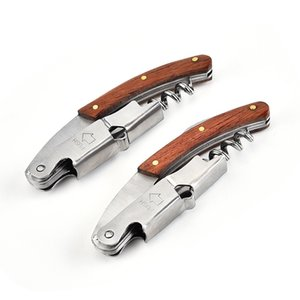Non-slip Wood Handle Corkscrew Knife Pull Tap Double Hinged Beer Red Wine Opener Stainless Steel Bottle Opener Bar Tool Gift ZZC3909