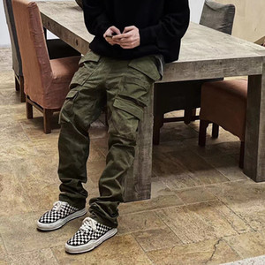 Multi tasche Straight Flare Pants Mens High Street Elastic Vita Solid Solid Sky Casual Cargo Pants Hip-Hop Baggy Pantaloni