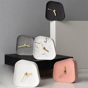 Accesorios de decoración del hogar nórdico Geometría en forma de cemento Tabla de mesa Reloj de escritorio Decoración de Mute Concrete pequeño Reloj de escritorio LJ201211