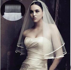 2020 Nueva boda de la llegada de dos capas Accesorios borde de la cinta de marfil blanco del boda velos nupciales del velo con el peine