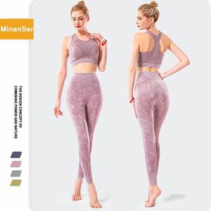 Minanser Femme Tracksuit Set Serré Yoga Set Leggings pour Fitness Workout En cours d'exécution Gym Vêtements Sportswear TrainingSuit