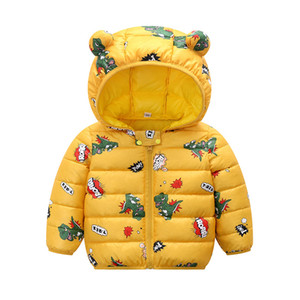 Kids clothes autumn and winter down Padded jacket cartoon print boys girls hooded warm coat 1-5years old Beibei quality clothing LJ20117