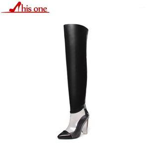2020 kadın ayakkabı diz üstü yüksek çizmeler kış ayakkabı platformu mikrofiber şeffaf kadın çizmeler boyutu 35-431