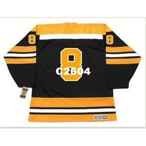 Mens # 8 Ken Hodge Boston Bruins 1970 CCM Vintage Retro Away Hockey Jersey o personalizzato Qualsiasi nome o numero Numero Retro Jersey