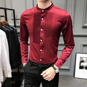 Slim Fit Stand Collar Men Shirt Long Sleeve Slim Fit Mens Tuxedo Shirts Black White Burgundy Dinner Christmas Shirt Male V333
