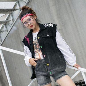 SexeMara fashion The New Loose letter printing Burr Wild cowboy Vest free shipping