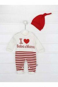 Red Male Baby Hat Jumpsuit dwVT#