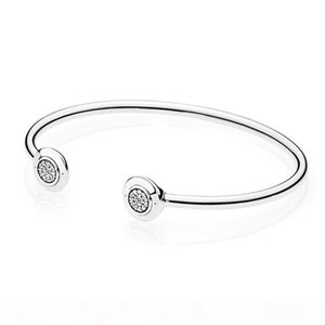 NEW Fashion CZ Diamond Disc Open Bangle Bracelet Set Original Box set For Pandora 925 Sterling Silver Cuff Bracelets for Women