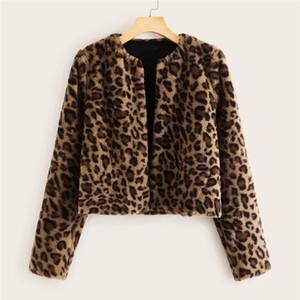 Повседневный Leopard Printed Женщины Мех зима теплая куртка дизайнер моды Street Style с длинным рукавом Экипаж шеи женщин пальто