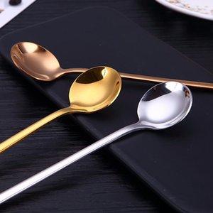 Aihogard 13см Круглая нержавеющая сталь Кофейная ложка с длинной ручкой десертный ледяной фруктовый ложка чайных ложек кухонные аксессуары H Bbyowm