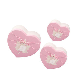 3pcs Love Heart Shaped Gift Box Handmade Gift Packing Box Valentine's Day Birthday Pink Paper Rose Gift Box Wedding Party A35 sqcnnO