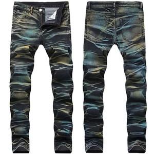 Fashion Men Painted Denim-Jeans-Hose Multi Color Sretch Printed Jeans-Hosen für Männer Größe 29-42