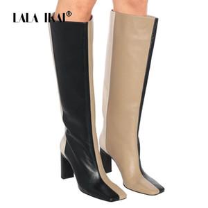LALA IKAI 2020 Autumn Winter Women Long Boots 7CM High heels Fashion Riding Boots Female Back Zipper Zapatos de mujer XWC10473-4