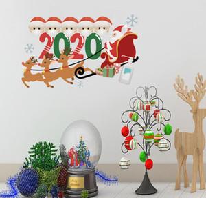 Quarentena face família Máscara de 2020 enfeite de natal Stickers Sticker Posters Janela Parede decalques Festival Porta Home decorações do Xmas E101304