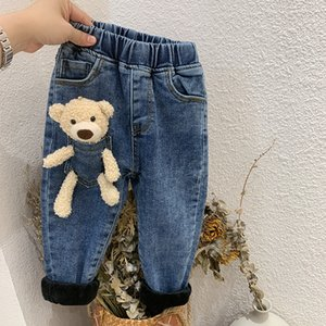New Children Pants Girls with bear doll Jeans Cotton Teenager Plush and Thickening Pants Kids Warm Elastic Waist Legging Wholesale Trousers