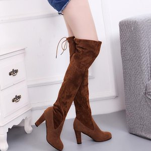 Women boots 2020 new arrival female dress boots elastic band luxury designer wedges boot woman shoes solid black yyi