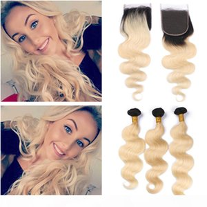 #1B 613 Blonde Ombre Brazilian Wavy Human Hair 3Bundles with Top Closure Body Wave Ombre Blonde Weave Wefts with 4x4 Lace Closure Piece