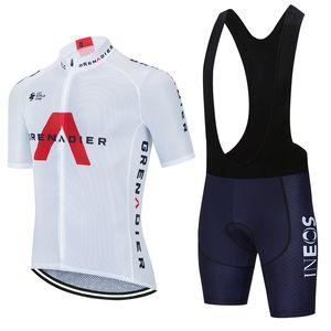 Ciclismo Jersey Set 2021 Pro Equipe Ineos Verão Respirável Ciclismo Roupas Homens / Mulheres Manga Curta Bicicleta Jersey MTB Uniforme Bib Set