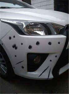 COOL! !6 pcs New Arrival Car Stickers 3D Bullet Hole Funny Decal Car-covers Motorcycle Scratch Realistic Bullet Hole Waterproof Stickers 003