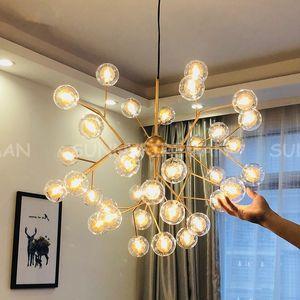 Moderna LED Firefly Sputnik Lampadario Lampadario Elegante albero di ramo di albero decorativo soffitto a soffitto a sfera a sfera appendere lampade a sospensione illuminazione
