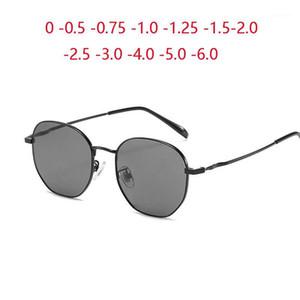 Gafas de sol Metal Polygon Myopia Terminada Mujer Vintage Lente Gris Corto Diopter 0 -0.5 -1.0 -1.5 -2.0 a -6.01
