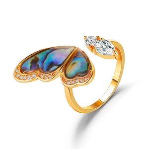 New Dream Seashells Красочные крылья бабочки кольцо INS INS INSTEMENGED CONG MICRO PAVE Zircon открытие кольцо слегка приготовленный стиль раковины