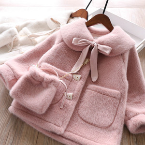 Fashion Kids faux fur coat winter new girls Bows Lapel Thicken Warm Princess Coat Children faux sable fleece outwear with bags A4876