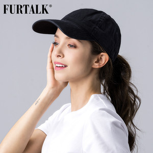 FURTALK Black Ponytail Baseball Cap Women Vintage Washed Cotton Baseball Caps Men Hip Pop Hat Snapback Summer Cap for Female 201015