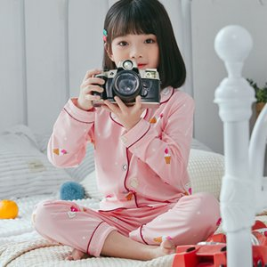 spring Children cute Pajamas Thicken Warm cotton Sleepwear Girls Loungewear Coral Fleece Kids Pyjamas Boy Long Top+ Pant Y200704