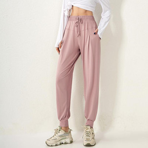 Trainning Pantalons exercice Femmes Sport Pocket Yoga Pants mince Femme desserrées en cours de remise en forme rapide à sec taille haute Sweatpant Casual