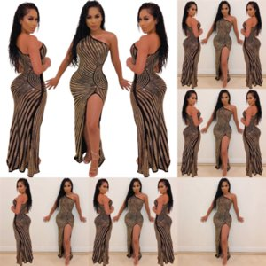 3wro Twodress Sexy Slash Deux Bretelles Bling Wed Robe Pie Femme Crop Top Sexy Genou-Longueur Robe Femme S Clous de nuque