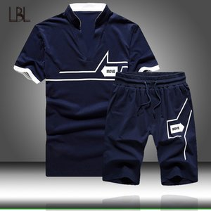 Men Sets Summer Casual Men's Tracksuit T Shirt+Shorts 2PC Set Sport Sweatwear 2020 Fashion Sport Suits Male T-Shirt Short Sleeve