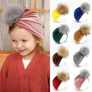 Pudcoco 2020 Brand New Style Baby Kids Boy Girl Bow Knot Turban Head Wrap Hat Sretch Turban Velvet Beanie Cap