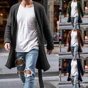 Мужской трикотажного Кардиган Мода Длинных свитеров Весна Осень теплой Thin Solid Карман Вязаные Повседневная Мужская Куртка
