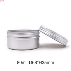 80ml Aluminum Jars Metal Containers Cream Lip Gloss Candle Universal Packaging Can Screw Cap Lightweight Round 50pcs lotgood qualtty
