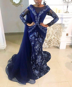 2020 Arabic Aso Ebi Royal Blue Mermaid Evening Dresses Lace Beaded Prom Dresses Sheer Neck Formal Party Second Reception Gowns ZJ105