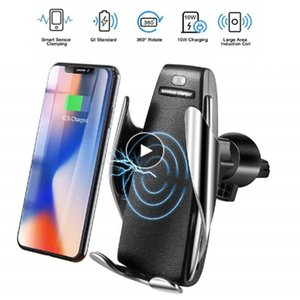 Inalámbrico cargador de coche automático del sensor para el iPhone Xs Max Xr X Samsung S10 S9 inteligente wireless Soporte de Carga de infrarrojos rápidos Teléfono s5 caliente