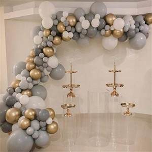 135PCS Gray White Latex Balloons with Gold Metal Balloons Arch Kit Garland For Wedding Birthday Party Baby Shower Decoration 1027