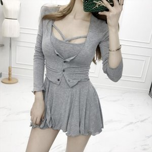 2 Two Piece Set Women Sexy Cardigan Dress Plus Size Sleeveless Dress Set Club Outfit Spring Summer Vintage Suit Cross