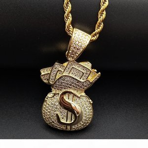 Gold Plated Iced Out CZ Cubic Zirconia Mens USD Money Bag Pendant Chain Necklace Designer Luxury Full Diamond Hip Hop Jewelry Gifts for Men