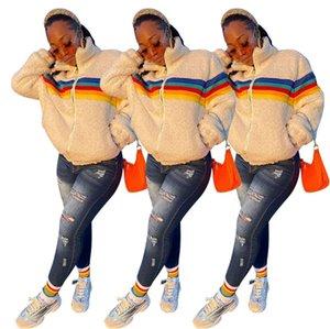 Mujeres Berber Fleece CHAKETS Rainbow Rayas Lamb Fleeced Cremallera Chaqueta Abrigos Sherpa Suéter Blusa Espesar Tops Cálidos Streetwear E122903