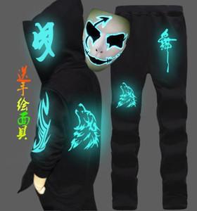 Autumn Spring Unisex Men Women Hoodie + Pants Sets Skull Wolf Print Joggers Outfit Sweatshirts Sweatpants Set Luminous With Mask 1004