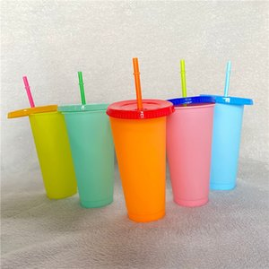 24oz 700ml spot environmental protection PP temperature-sensitive cooling plastic straw covered coffee water cup plastic color change cup.