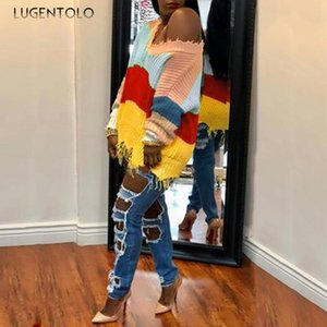 Lugentolo Женщины трикотажные свитера осень зима Радуга Stripes Color Matching Повседневный Нерегулярное Tassled Женский свободные свитера