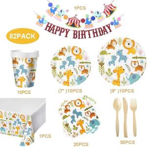 Joyeux Festival Party Décor Set Cartoon enfants jetables Décoration de la Coupe plaque papier serviette Vaisselle couteau fourchette cuillère Pull Drapeau VT1829