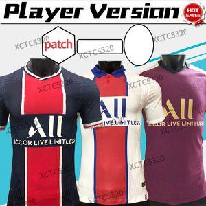 Versión del jugador 2021 Paris Maillot Tercer MBAPPE ICARDI Jerseys de fútbol 20/21 Home Away Fútbol Camisa de fútbol Verratti Uniformes de fútbol