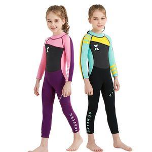 2,5 mm in neoprene wetsuit kids swimwear wetsuit manica lunga ragazzi e ragazze navigando per bambini escort per bambini snorkeling un pezzo