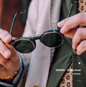 Maden Arnel Vintage Frame Glasses Men Ami Kaji Detachable Sunglasses Round Optical Spectacle Frame Clear Lens